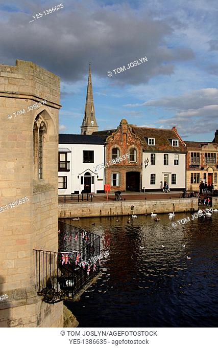 View towards The Quay along River Great Ouse from Chapel Bridge, St Ives, Cambridgeshire, England, UK