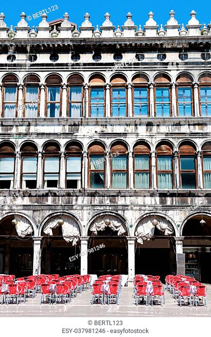 Venice - Piazza San Marco - Facade and arcades of old palazzo