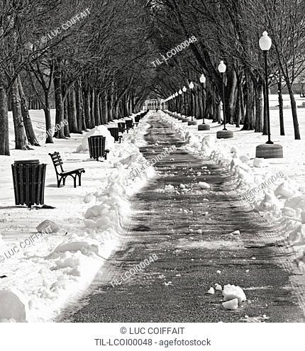 A path through snow in a park