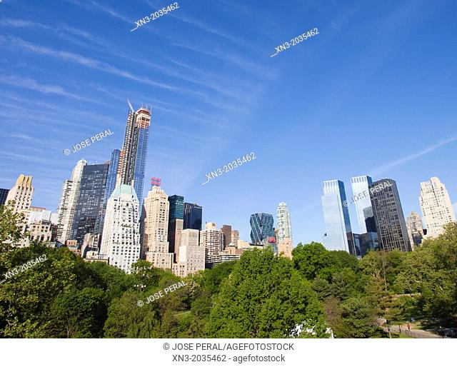 Skyline panorama viewed from Central Park South, at right Columbus Circle, Midtown, Manhattan, New York City, USA