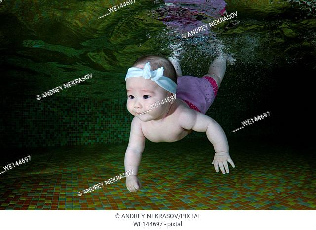 6 months infant learning to swim underwater in waterbaby class in the pool, Eastern Europe, Ukraine