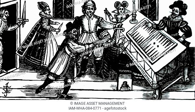 Woodblock print depicting a contracted killer attacking. Dated 16th Century