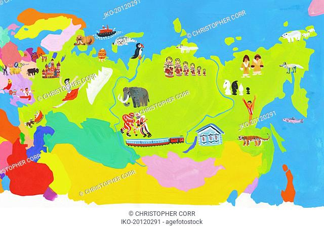Illustrated map of Russia, Estonia, Latvia, Lithuania, Belarus, Ukraine and Moldova