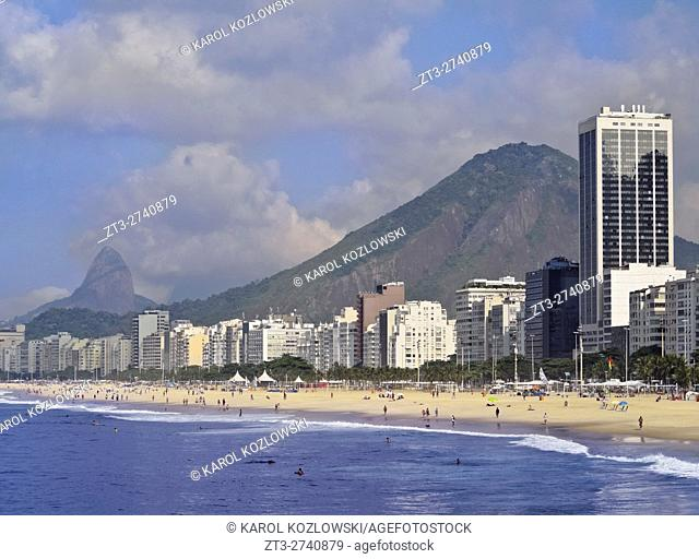 Brazil, City of Rio de Janeiro, View of the Copacabana Beach