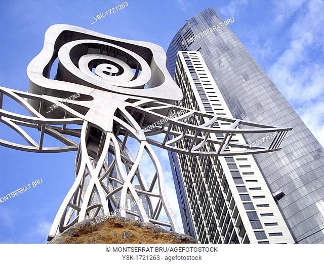 Sandridge bridge sculpture and Melbourne skyscraper background