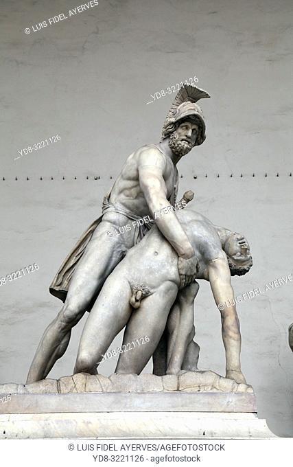 Menelaus supporting the body of Patroclus, Loggia dei Lanzi, Piazza della Signoria, Florence, Tuscany, Italy