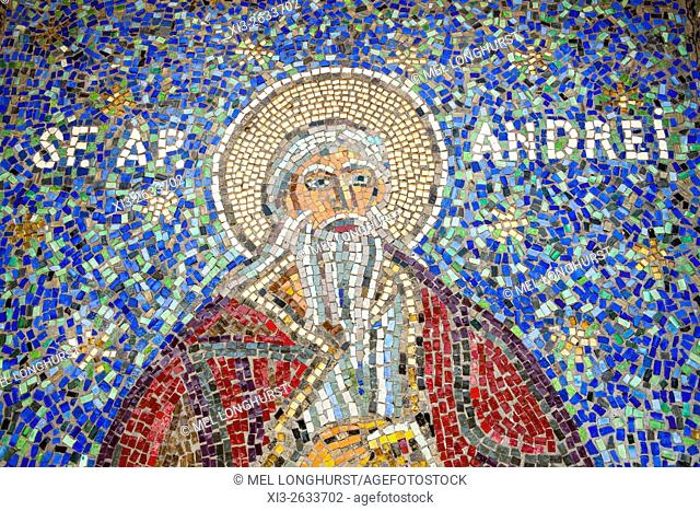 Mosaic of Saint Andrew on exterior of Saint Peter and Saint Paul the Apostles Cathedral, Constanta, Romania