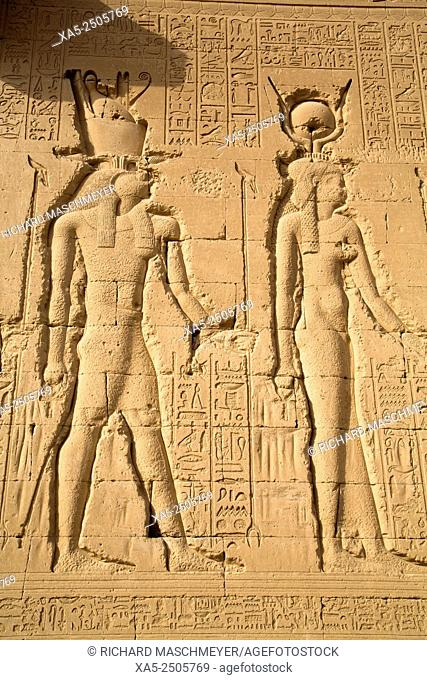 Exterior Relief Depicting Horus (left) and Hathor (right), Temple of Hathor, Dendera, Egypt