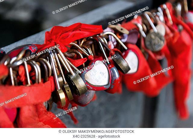 Love locks and red ribbons in Tianmen Mountain National Park, Zhangjiajie, Hunan, China 2014