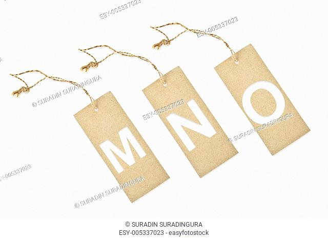 Brown paper tag with letter M N O cut