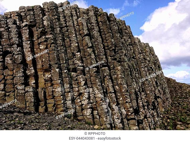 Giants Causeway, in Northern Ireland, a coastline filled with interlocking basalt columns, the remnants from an ancient volcanic fissure eruption