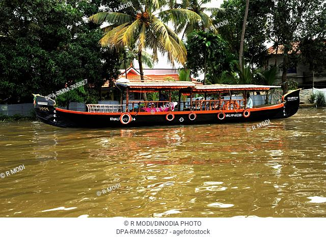 House boat in backwaters from kottayam to alappuzha, kerala, India, Asia