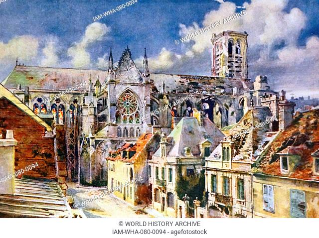 Painting of Soissons, a commune in the Aisne department in Picardy in northern France, located on the Aisne River. Dated 19th Century