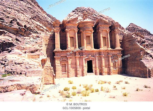 Facade of Ed Deir (The Monastery) in Petra, Jordan
