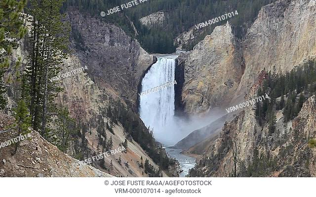 USA-Wyoming-Yellowstone National Park--Lower Yellowstone Waterfalls from Artis Point