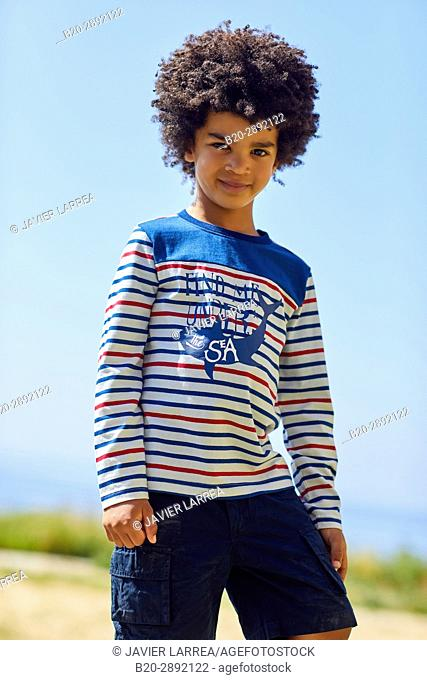 Boy, Marine clothing, Zarautz, Gipuzkoa, Basque Country, Spain, Europe