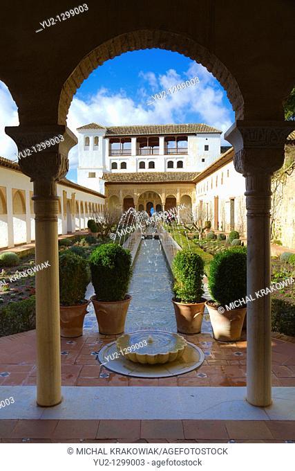 Patio de la Acequia in Generalife part of Alhambra in Granada, Spain