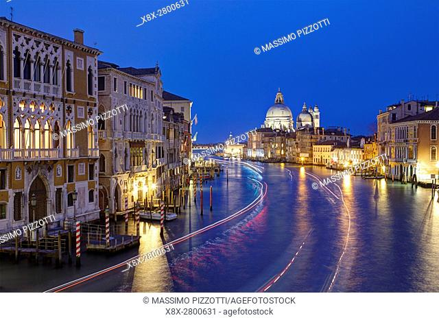 View of the Grand Canal and the Basilica of Santa Maria della Salute, from the Bridge of Academy, Venice, Italy