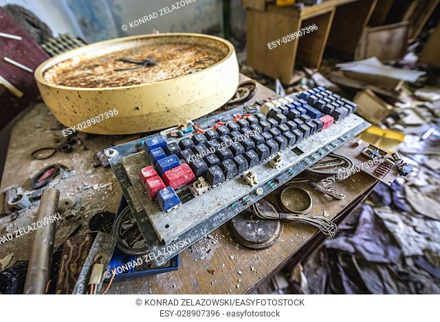 Office room of abandoned Jupiter Factory in Pripyat ghost town of Chernobyl Nuclear Power Plant Zone of Alienation in Ukraine