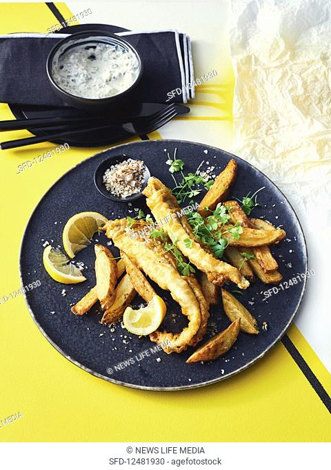 Fish and chips with fish salt