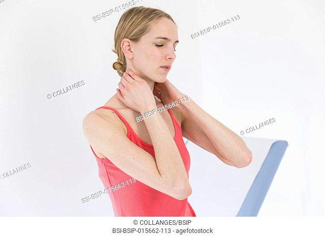Female patient consulting for cervical pain