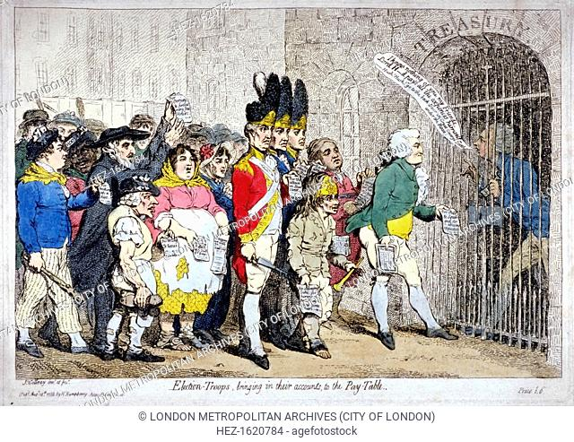 'Election-troops, bringing in their accounts, to the pay-table', 1788. The 'troops' headed by Major Topham, approaching the barrier gate of the Treasury behind...