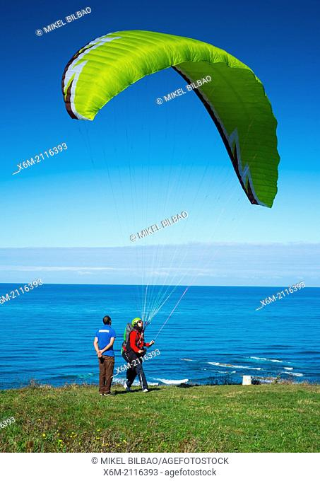 Paragliding. Sopelana, Biscay, Basque Country, Spain, Europe