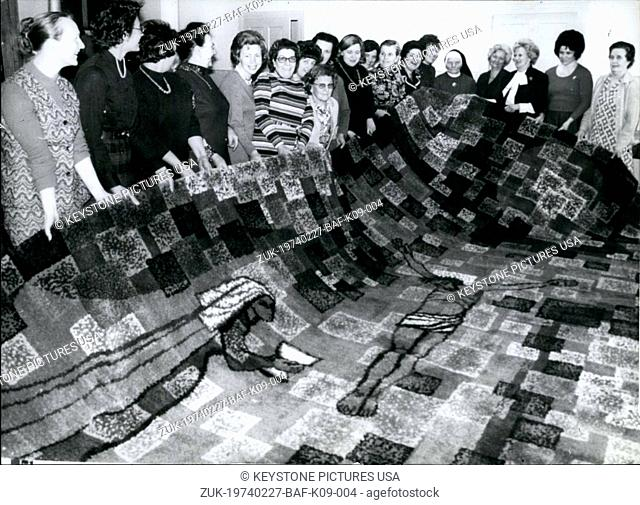 Feb. 27, 1974 - These 30 catholic and evangelican housewives spent 1,350 hours over 10 months to quilt this 7 meters long and 3 meters wide tapestry