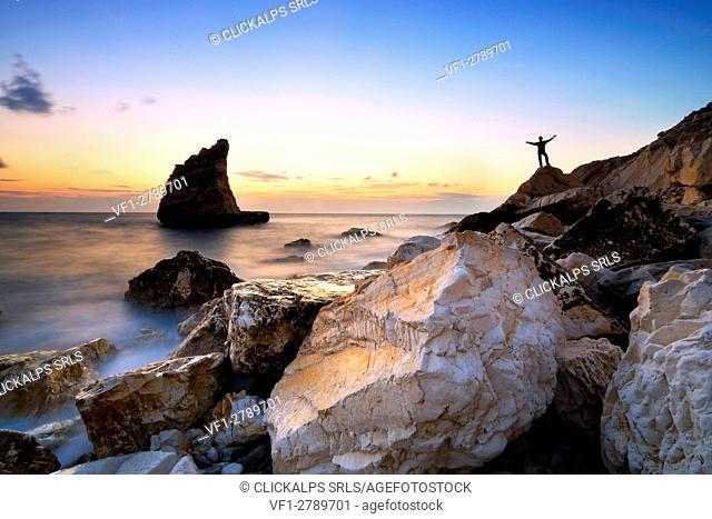 La Vela rock at sunrise, Conero Park, province of Ancona, Marches, Italy
