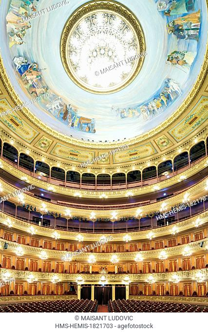 Argentina, Buenos Aires, Colon theater, opera house can hold 3000 people designed by the Italians Francesco Tamburini and Víctor Meano and inaugurated in 1908