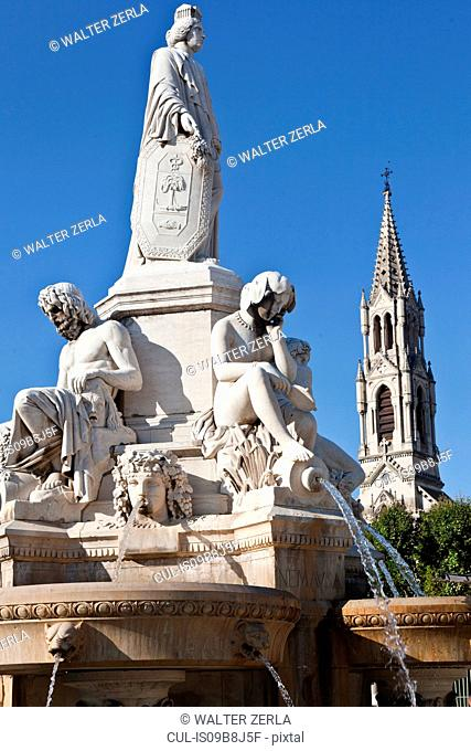 Fountain Pradier, Esplanade Charles-de-Gaulle, Nimes, Languedoc-Roussillon, France