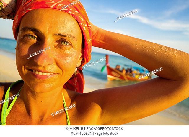 Young woman portrait  Long beach  Phi Phi Don island  Krabi province, Andaman Sea, Thailand