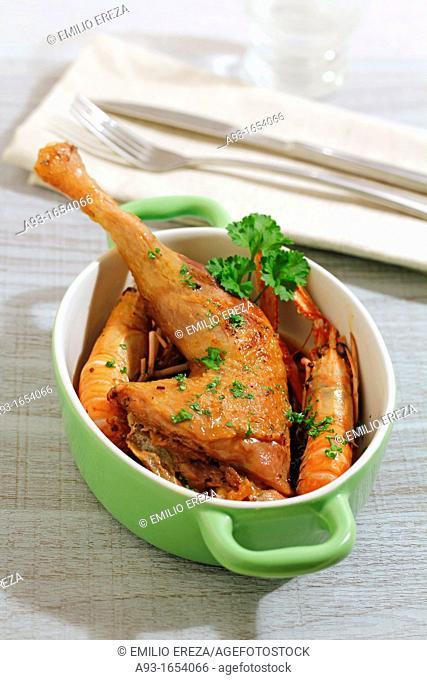 Chicken with Dublin bay prawns