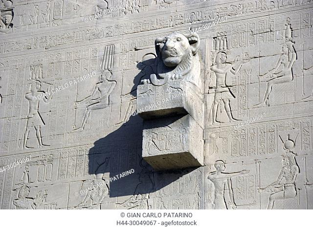 Lion-headed water spout on the outer wall of the Temple of Hathor at Dendera, Egypt