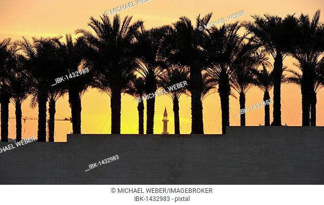 Minaret of a mosque between palm trees, sunset, Doha, Qatar, Persian Gulf, Middle East, Asia