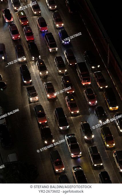 High angle view of traffic jam, Yangon, Myanmar