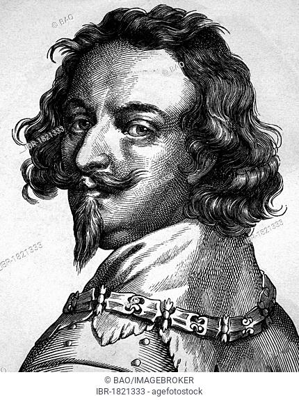 Ernst, Count of Mansfeld, 1585 - 1626, army commander in the Thirty Years War, portrait, historical illustration, 1880