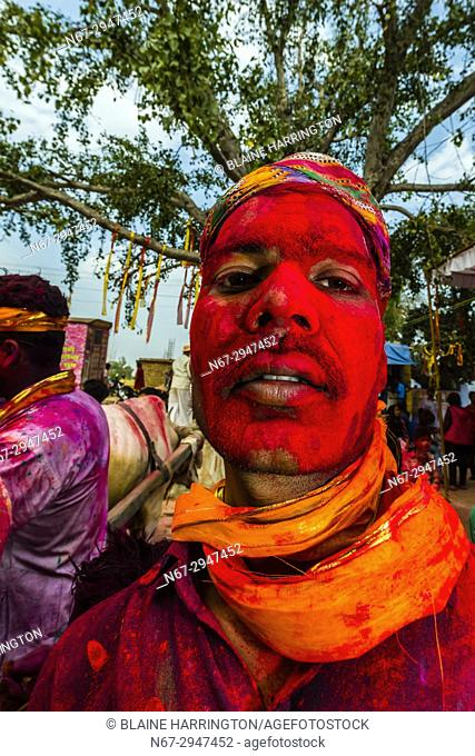 Chhadi Mar Holi (local Holi celebration), Holi Festival (Festival of Colors), village of Gokul, near Mathura, Uttar Pradesh, India