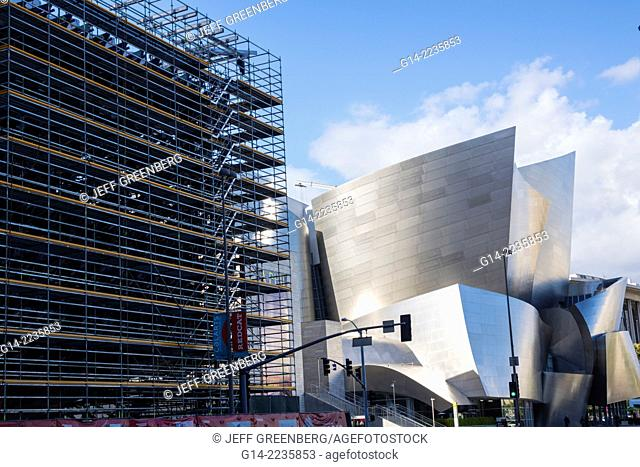 California, CA, Los Angeles, L.A., Downtown, Walt Disney Concert Hall, landmark, performance venue, exterior, architecture, design, Frank Gehry, curve