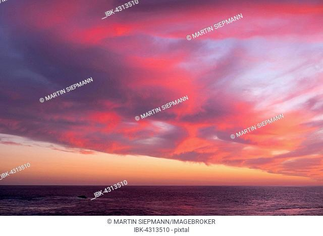 Sea and clouds at sunset, La Gomera, Canary Islands, Spain