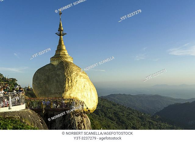 Myanmar (formerly Burma). Kyaiktiyo. State Mon. Sacred site of the golden rock