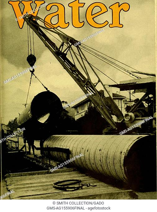 Illustration headed with the word 'Water, ' showing a crane laying a line of pipe in the foreground, with buildings in the background