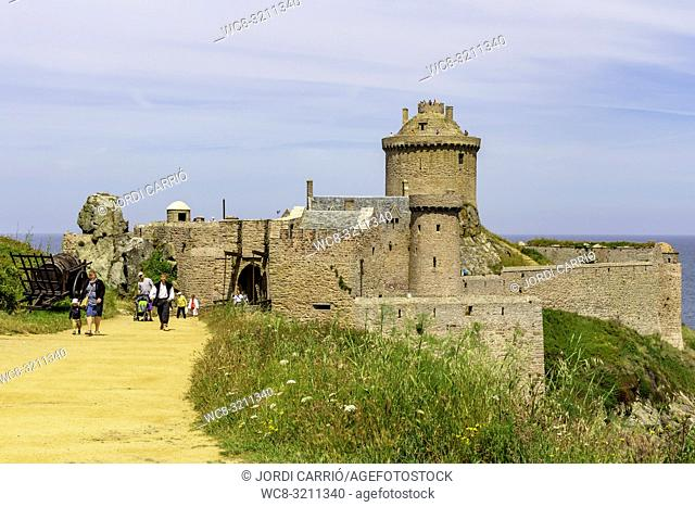 FORT LA LATTE, BRETAGNE, FRANCE - JUNE 2015: View of Fort La Latte on the Côtes-d'Armor, Brittany, France where unknown tourists stroll on June 21, 2015