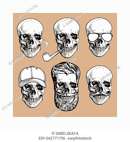 Set of human skull bones with sunglasses, beard, moustache, smoking pipe, sketch vector illustration isolated on brown background