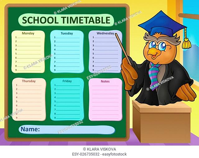 Weekly school timetable topic 8 - picture illustration