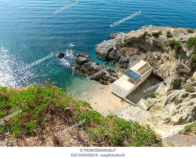 "Framing of the """"Praia da Cova da mijona"""". Image captured in summer and located near Sesimbra in Portugal.Zone of difficult pedestrian access"