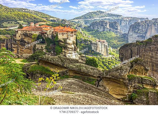Monastery from Meteora-Greece, beautiful landscape with tall rocks with buildings on them