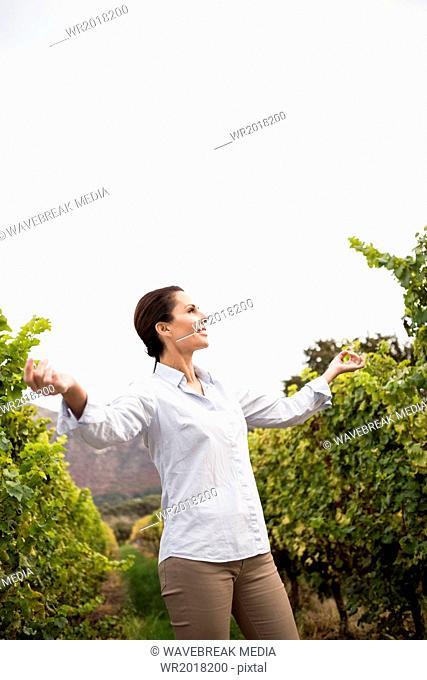 Pretty woman relaxing in a vineyard