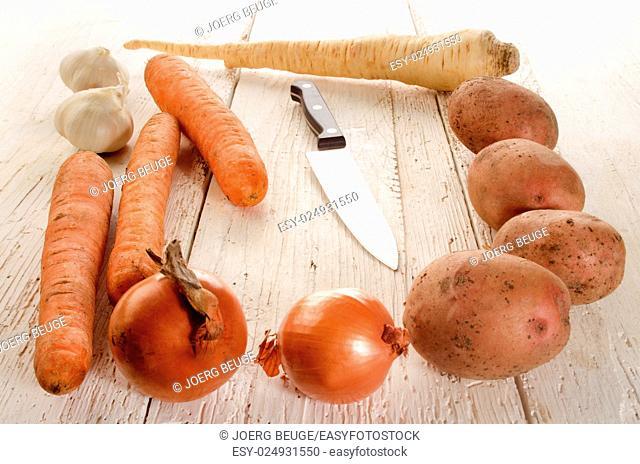 organic vegetables for preparing a vegetable soup