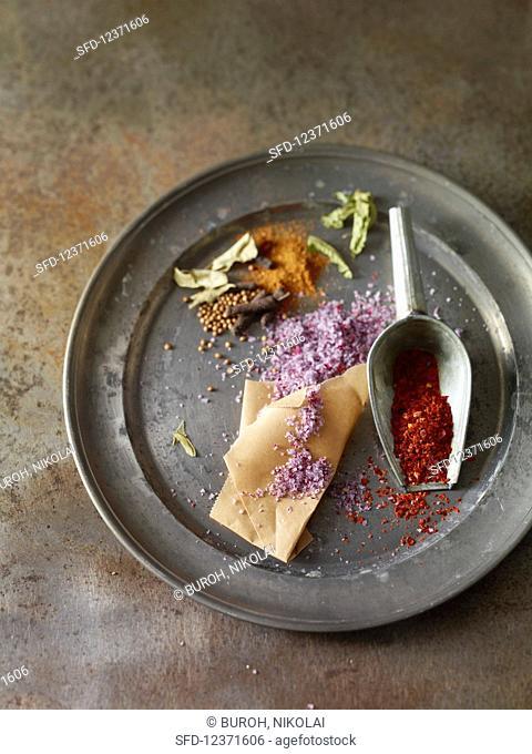 Spice still life on metal plate